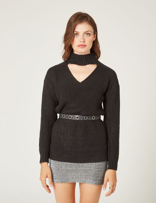 Black jumper with front cut-out detail