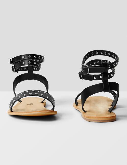 sandales plates cloutées noires