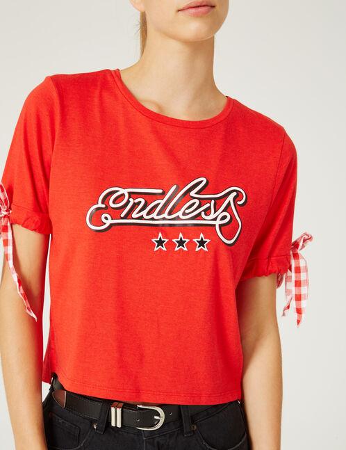 tee-shirt avec lien vichy rouge