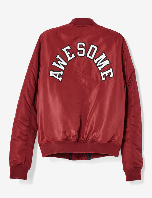 Burgundy bomber jacket with pin detail