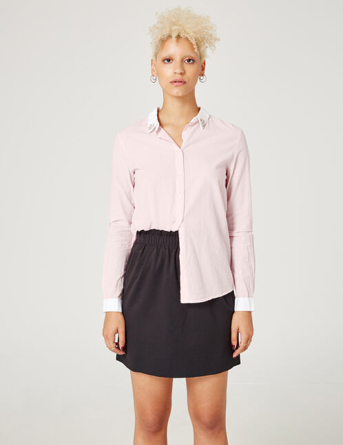 Light pink and white blouse with beaded collar detail