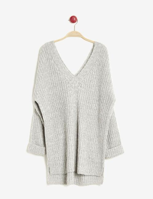 Light grey V-neck jumper