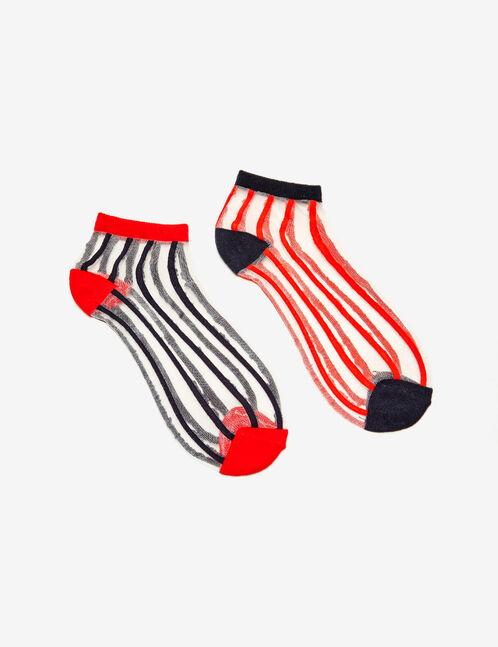 chaussettes avec résille bleu marine et rouges