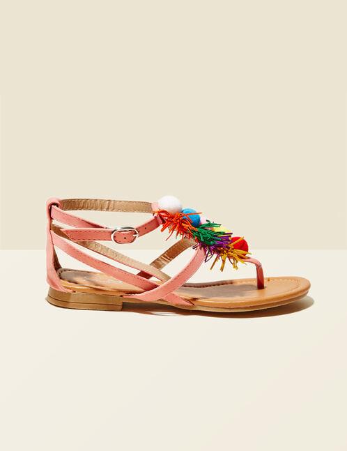 sandales plates avec pompons corail