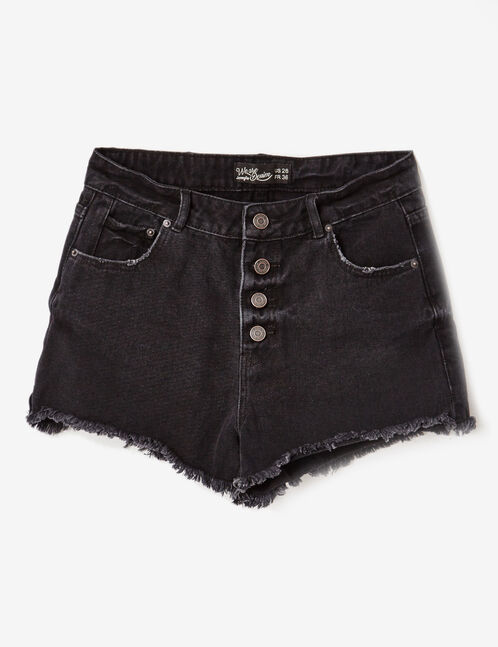 Black high-waisted denim shorts