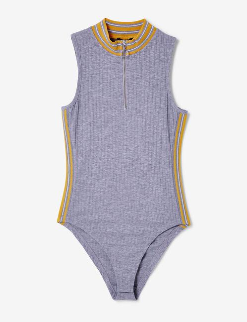 body côtelé zippé gris chiné et ocre