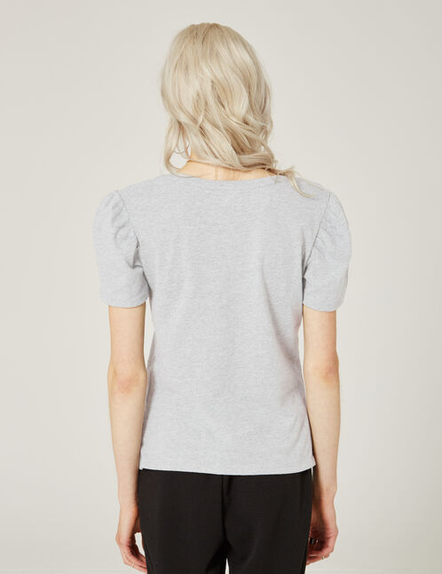 Grey marl T-shirt with tassel detail