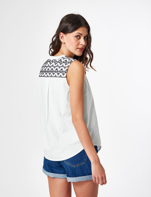 Cream blouse with embroidered detail