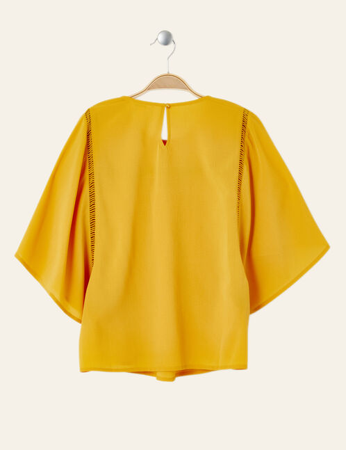 Ochre flared blouse with macramé detail