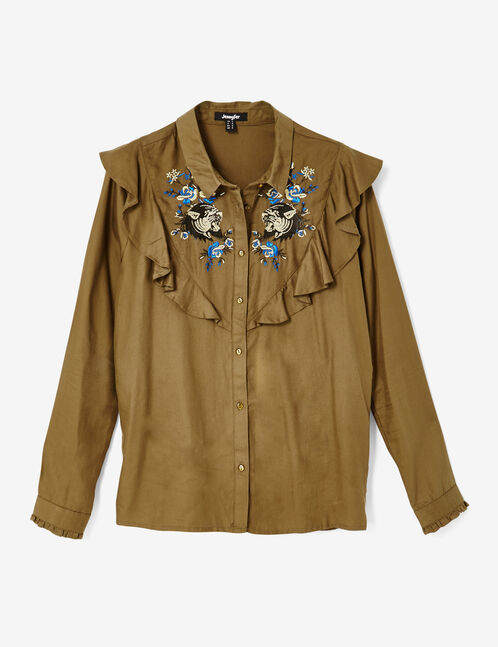 Khaki embroidered shirt with frill detail