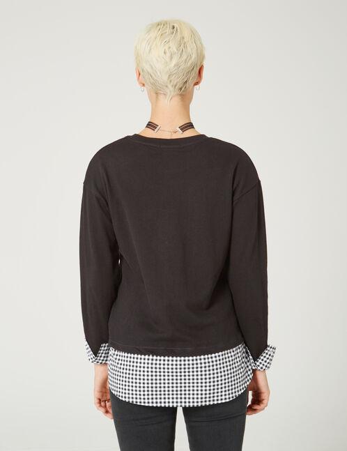 tee-shirt bi-matière noir