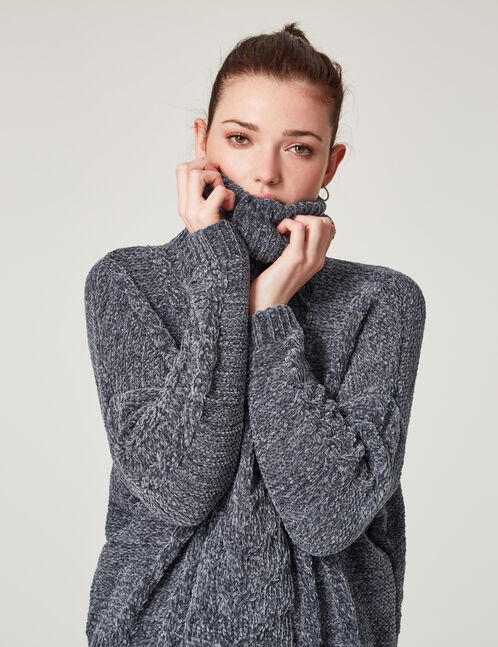Charcoal grey marl chenille polo neck jumper