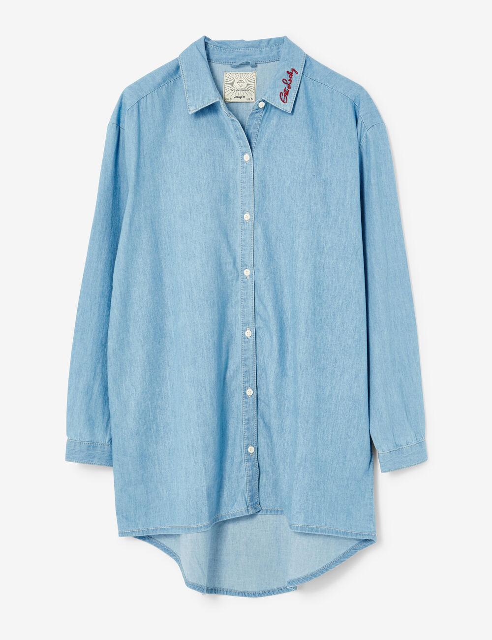 Chemise Jean Longue dedans chemise longue en jean bleu clair femme • jennyfer