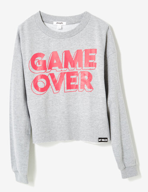 Cropped grey marl sweatshirt with text design detail