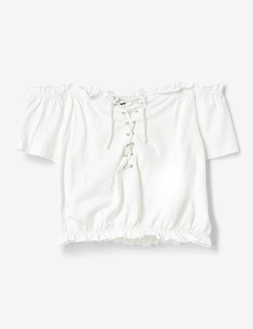 tee-shirt épaules dénudées écru
