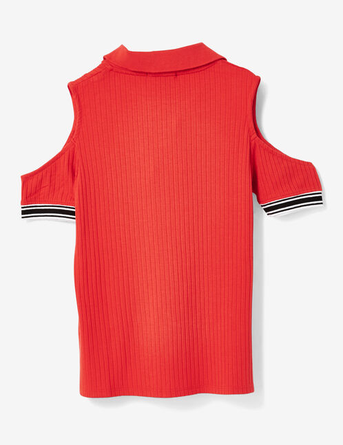Red polo shirt-style T-shirt