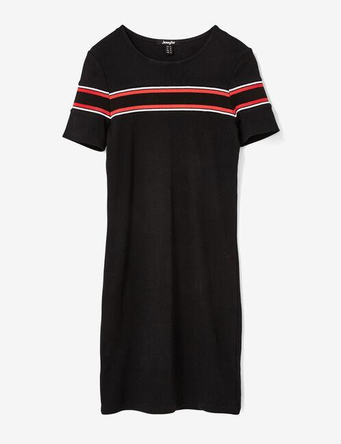 robe tube avec rayures noire