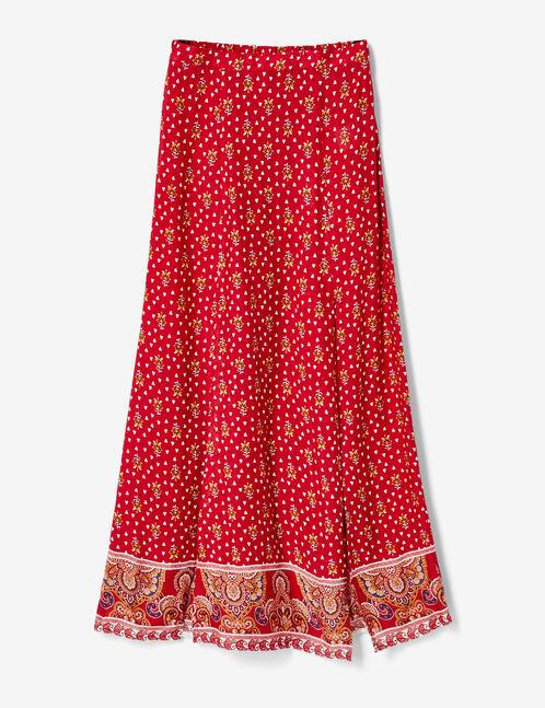 Burgundy maxi skirt with slit detail