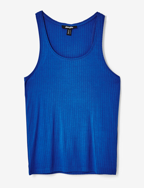 Basic electric blue ribbed tank top