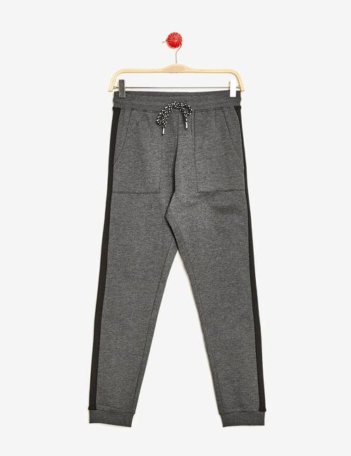Charcoal grey marl and black rib detail joggers
