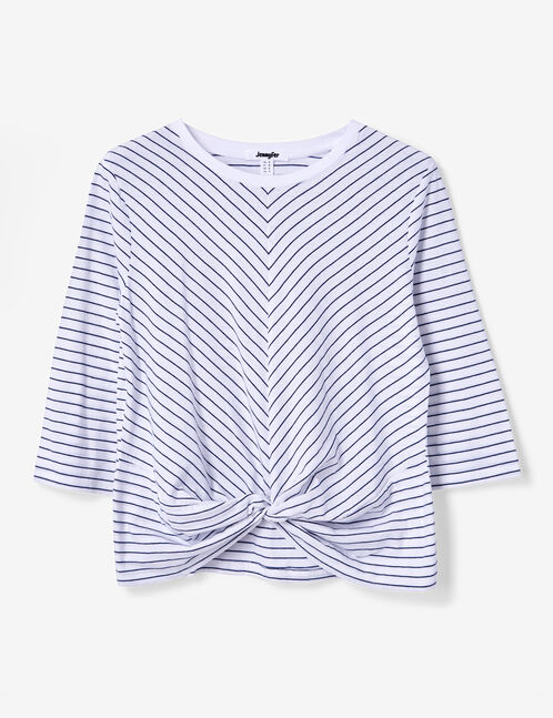 Cream and navy blue striped tie-effect T-shirt