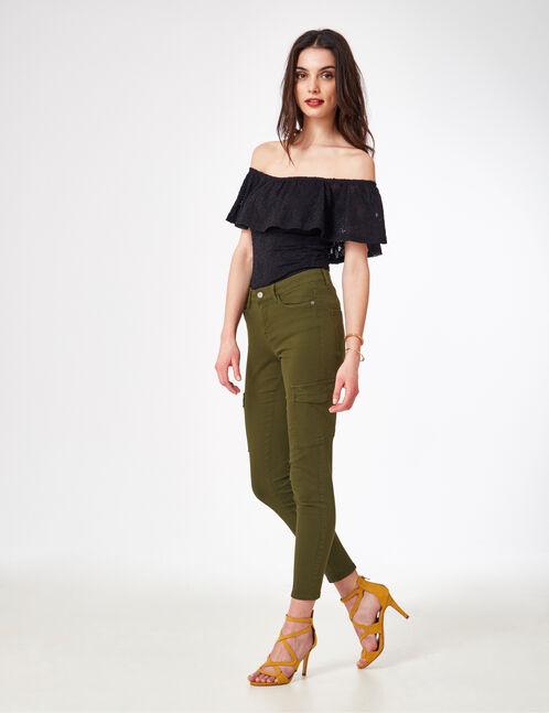 pantalon cargo à poches kaki