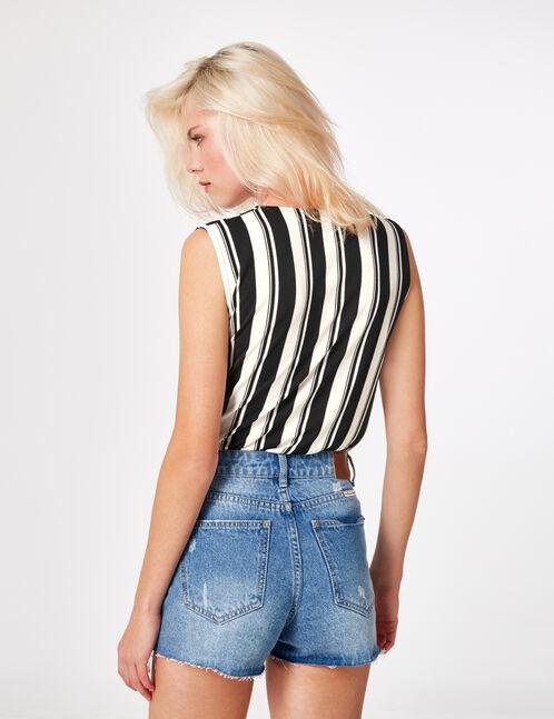 Black and cream striped wrap bodysuit