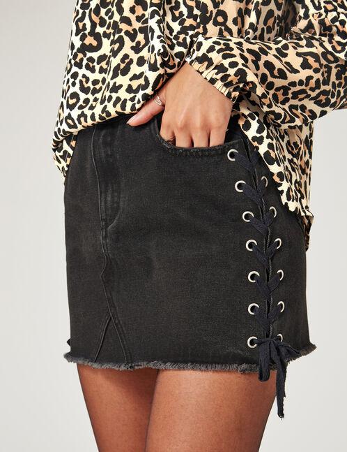 Black denim skirt with lacing detail
