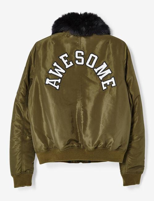 Khaki bomber jacket with pin detail