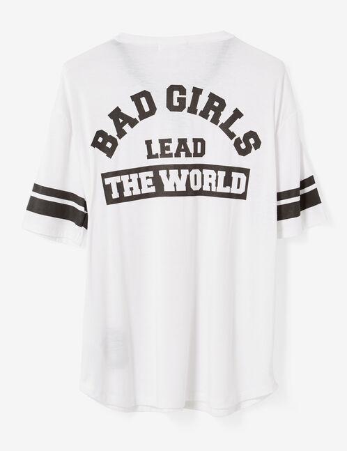 tee-shirt avec laçage blanc
