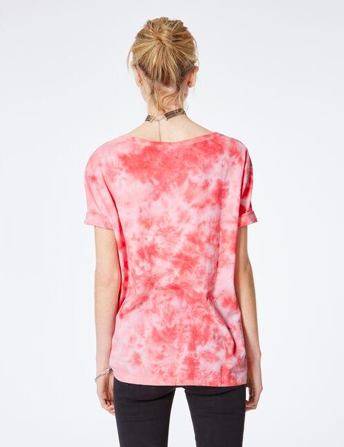 tee-shirt tie-dye à message rose et blanc