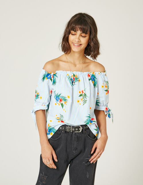 Cream and blue off-the-shoulder blouse
