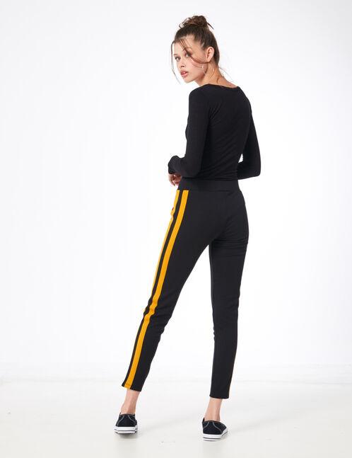 legging avec bandes côtés ocre et noir