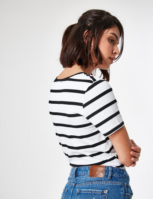 White and black T-shirt with sequined patch detail