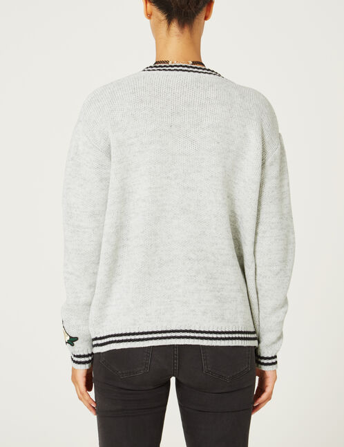 Grey marl cardigan with patch detail