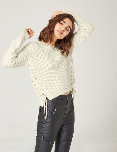 Cream textured jumper with lacing detail