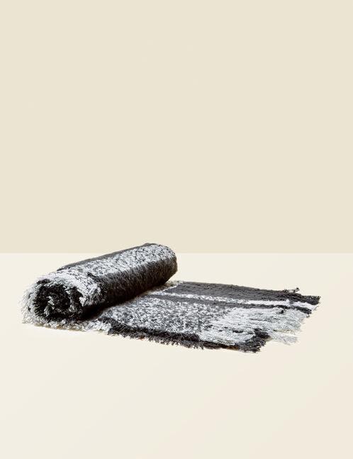 écharpe texturée noire et grise