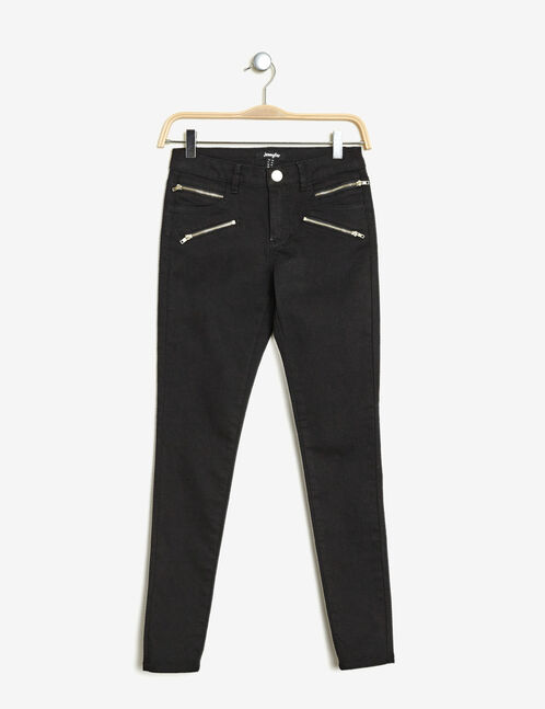 Black skinny trousers with zip detail