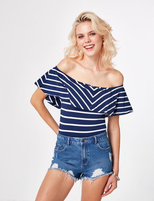 Navy blue striped bodysuit with frill detail