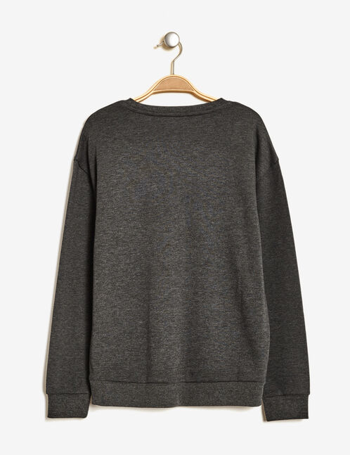 sweat imprimé doré gris anthracite chiné