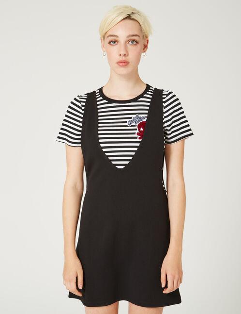 tee-shirt et robe superposé noir et écru