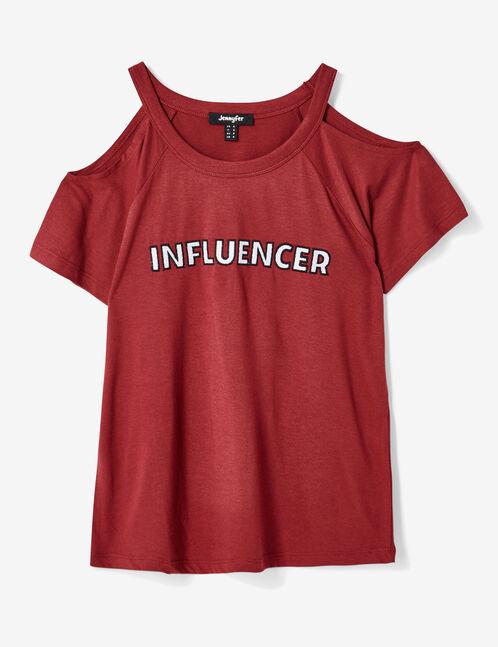"""Burgundy """"influencer"""" T-shirt"""