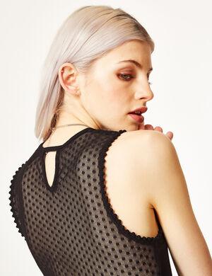 Product Top body, femme, noir, avec plumetis, ouvertures devant et dos, col rond, sans manches, forme culotte avec boutons pressions.Marque Jennyfer Catégorie bodies