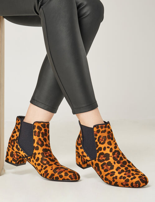 bottes chelsea léopard camel