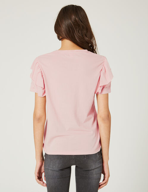 Pale pink T-shirt with frill detail