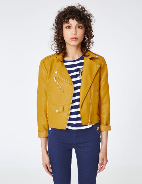 Ochre biker jacket with zip detail