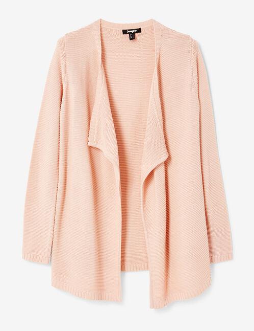 Light pink textured open cardigan