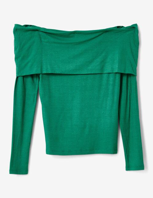 tee-shirt épaules dénudées vert