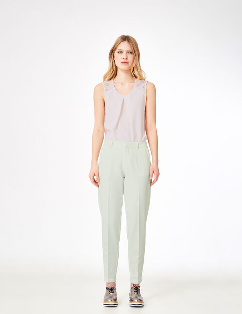 Cream cigarette trousers
