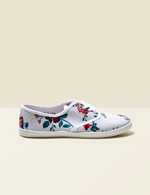 White floral canvas trainers